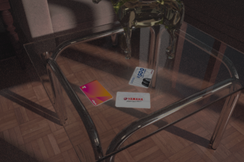 gift cards on coffee table